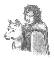 Jon Snow and Ghost WIP by RemyBlas