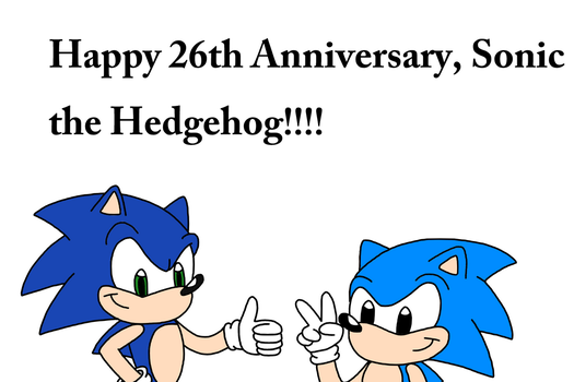 Happy 26th Birthday, Sonic the Hedgehog by MarcosPower1996