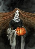 Lady with pumpkin by LiigaKlavina