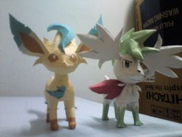 Shaymin and Leafeon by riolushinx