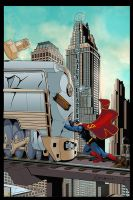 Superman VS train by logicfun