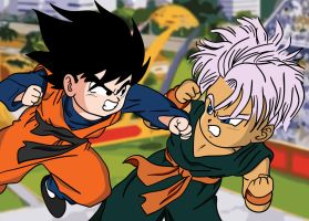 Goten vs Trunks by KiranBenning