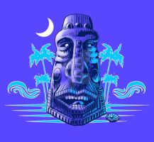Moonlit Moai T-shirt Graphic by rawjawbone