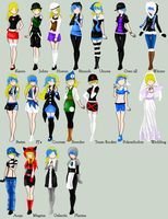 Darbi's outfits by LunarLight101