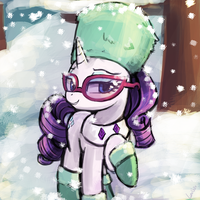 Rarity's snow outfit by luminaura