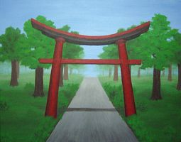 Torii Gate and Pathway by singewyvern