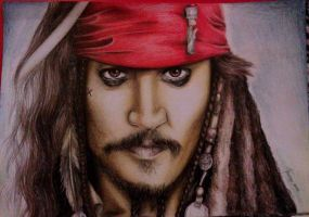 Jack Sparrow Colored Drawing by turanneth