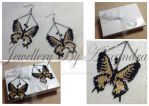 Butterfly Earrings - Gold and Black by WhiteMagicPriestess