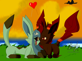 Together and happy again... by DerekTheVaporeon