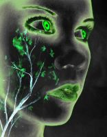 green neon face by Noreaja