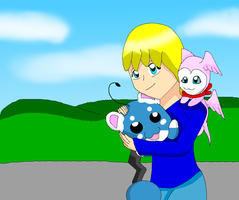 Liz and Heartmon and Baby Azurill by HeroHeart001