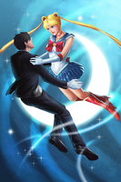 Sailor Moon and Tuxedo Mask by GenghisKwan