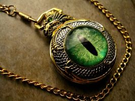 Custom - Dragon Slave Green Eye Pocket Watch by LadyPirotessa