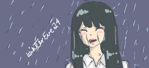 crying in the rain- sketch by winterEve24
