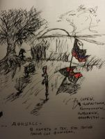 Ink Drawing - Donbass Hill by AskRussianArmy