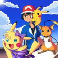 Pika Trio and Ash are saying Hello by Jack-a-Lynn