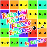 Rainbow Kawaii Faces Brushes by Retryo