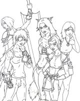 Exalted Heroines BW by Koshindou