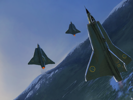 SAAB 35D Draken (Dragon) by Aanker