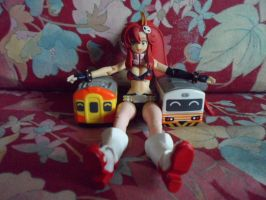 Yoko with trains by ThomasAnime