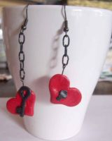 Heart lock and key earrings by Ewanecka
