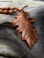 Oak leaf leather pendant by Oblivionleather76