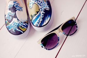 The Great Wave off Kanagawa shoes and glasses by Bobsmade