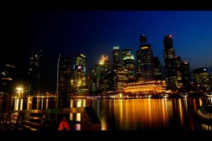 Singapore Cityscape Night Shot by poondq