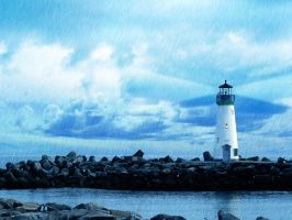 Lighthouse on the open Sea by bigrdesign