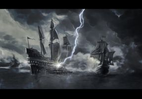 Lightning strike on Ship by L1nKz