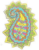 Blue Pink Yellow Green Paisley by mpenckofer