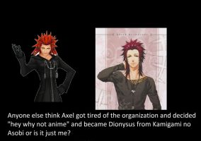 Axel trying anime out by KirakuSHigomaru
