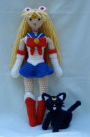 sailor moon and luna by TheArtisansNook