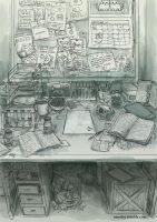 The Scientist's Desk by Nimsley