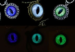 Gift Set - 3 Glow in the Dark Dragon Eye Pendants by LadyPirotessa