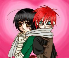 .:Lee and Gaara:. colored by Kumagorochan