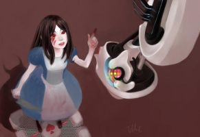 Alice and GlaDOS by tilhe