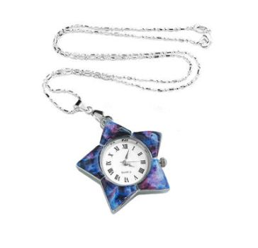 Handmade Resin Blue Pink Nebula Watch Necklace by crystaland
