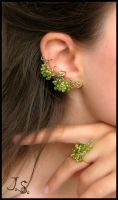 Green Grapes set earcuff, stud, ring by JSjewelry