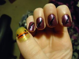 Hibari Themed Nail Art-Right by pockyXbandit