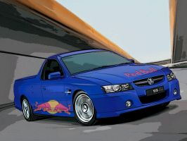 Holden VZ SS ute red bull sketched by ryanthescooterguy