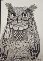 Owl - Zentangle by kawaii-little-neko