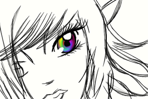 Practice rainbow eye :3 by momo4427