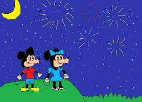 Mickey and Minnie watching fireworks by Simpsonsfanatic33