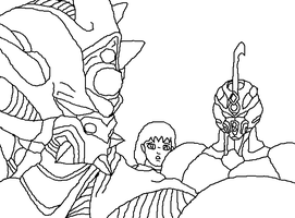 Free Base Guyver 1 And Guyver 2 And Someone by Natalia-Clark