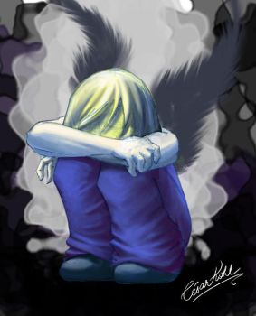 O_X angel crying by cesarkohl