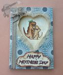 Handmade/Painted DinoMum Cuddle Mother's Day Card by PossumPip-Creations