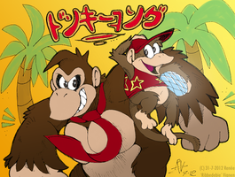 DK and Diddy - Banana paradise by Ribbedebie