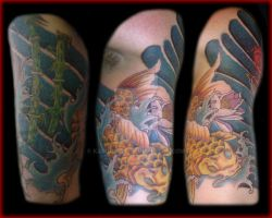koi tattoo sleeve back by kamuyart