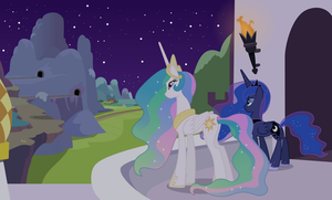 Celestia and Luna Overlooking (Night Version) by 90Sigma